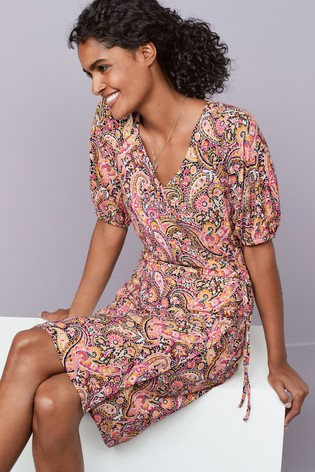 Paisley Print Crepe Wrap Dress