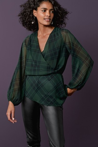 Green Check Wrap Top