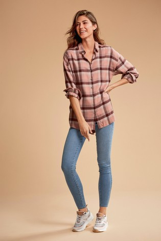 Blush Check Boyfriend Shirt