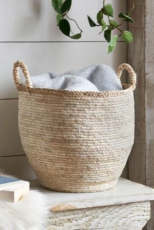 Large Blonde Woven Storage Basket