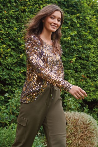 Paisley Sequin Gathered Sleeve Top