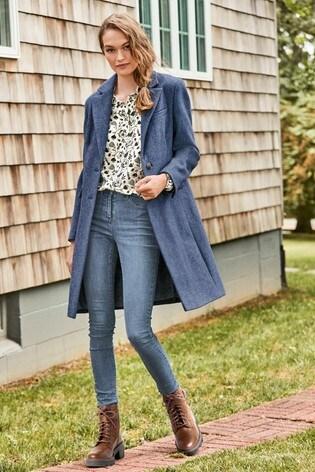 Blue Revere Collar Coat