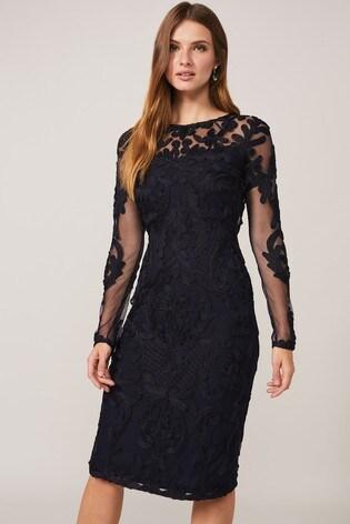 Phase Eight Blue Nikita Tapework Lace Dress