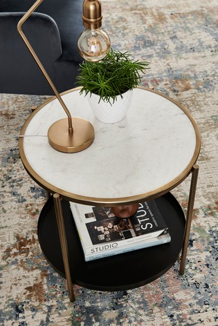 White Marble Tray Sidetable