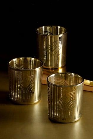 Set of 3 Gold Glass Tealight Holders