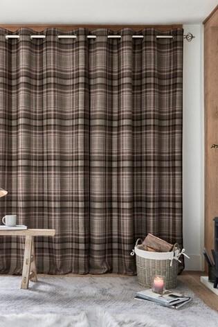 Hartley Natural Check Eyelet Curtains