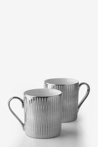 Set of 2 Silver Diamond Mugs