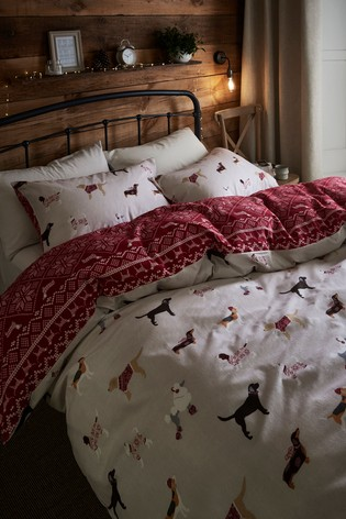 Brushed 100% Cotton Winter Dogs Duvet Cover and Pillowcase Set