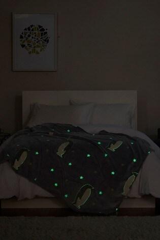 Glow In The Dark Penguin Fleece Throw