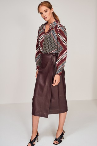 Berry PU Midi Skirt