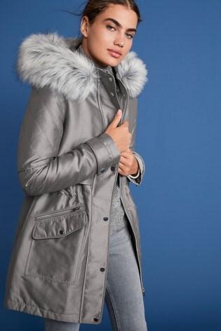 Grey Faux Fur Hooded Parka