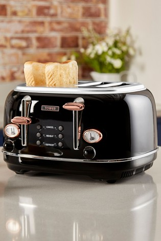 Tower Black 4 Slot Toaster
