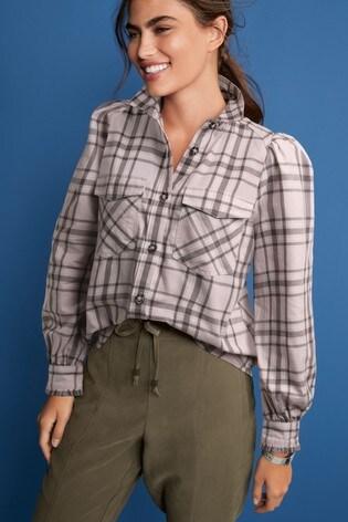 Blush Check Puff Sleeve Shirt