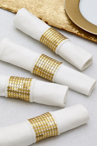 Set Of 4 Napkins And Rings by Next