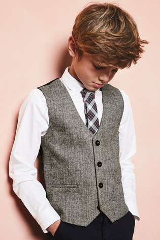 Grey Shirt, Waistcoat And Tie Set (12mths 16yrs) by Next