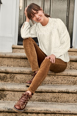 Long Sleeve Broderie Top by Next