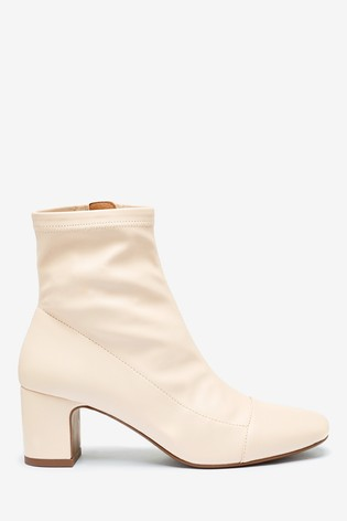 Cream Sock Ankle Boots