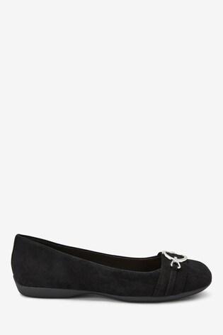 Black Suede Forever Comfort® Hardware Ballerinas