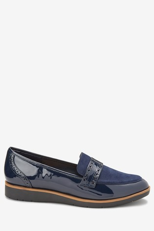 Navy Material Mix Forever Comfort® Brogue Detail Chunky Sole Loafers