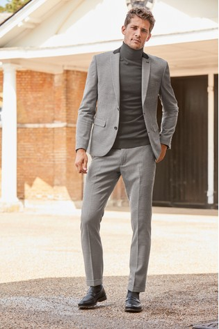 Black/White Skinny Fit Check Suit Jacket