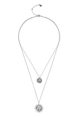 Mint Velvet Silver Tone Hammered Disc Necklace