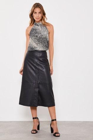 amazon official shop good texture Mint Velvet Black Leather Midi Skirt