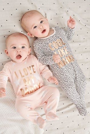 Monochrome/Pink 2 Pack Cool Like Mama And Daddy Sleepsuits (0-2yrs)