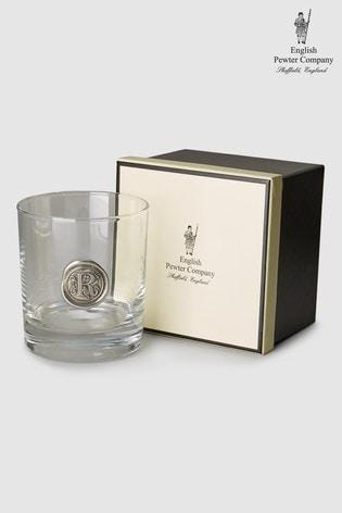 English Pewter Company 11oz Monogram Glass Tumbler