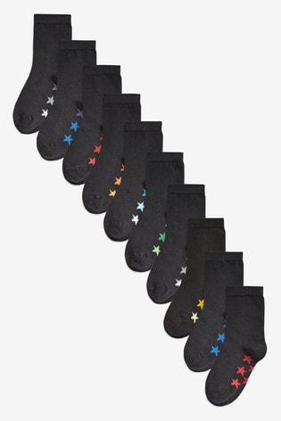 Black 10 Pack Cotton Rich Star Socks (Older)