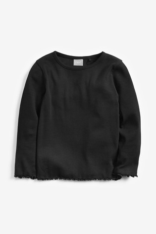 Black Long Sleeve Rib T-Shirt (3mths-8yrs)