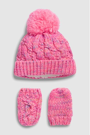 moins cher artisanat exquis bons plans sur la mode Bright Pink Hat And Gloves Two Piece Set (Younger)