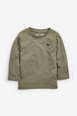 Khaki Long Sleeve Plain T-Shirt (3mths-7yrs)