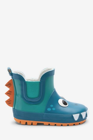 Blue Warm Lined Dinosaur Chelsea Boot Wellies (Younger)