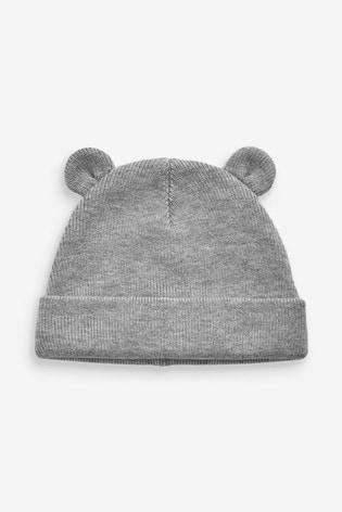 Grey Bear Rib Hat (0mths-2yrs)