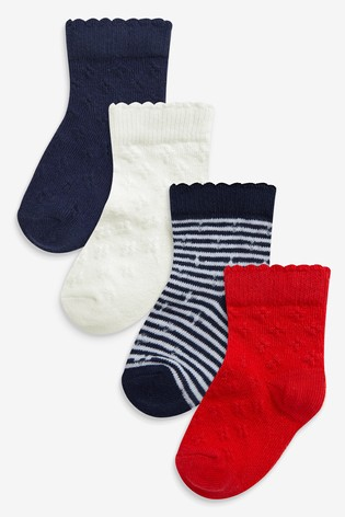 Navy/Red 4 Pack Pointelle Socks (Younger)
