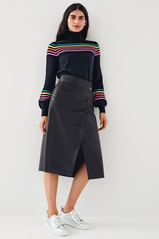 Mix/Lab Leather Wrap Skirt