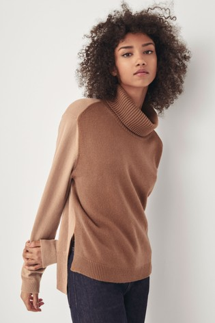 Next/Mix Colourblock Roll Neck Jumper