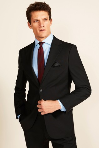 Moss 1851 Black Stretch Tailored Fit Jacket
