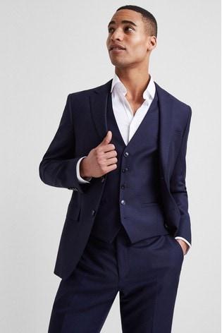 DKNY Slim Fit Navy Panama Open Weave Jacket