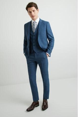 DKNY Slim Fit Summer Blue Texture Jacket