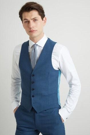 DKNY Slim Fit Summer Blue Texture Waistcoat
