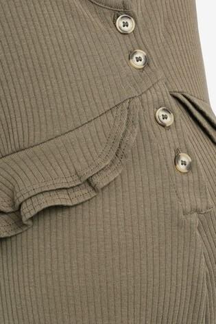 Khaki Maternity/Nursing Button Front Ruffle Jumpsuit