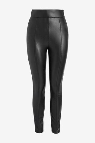 Black Faux Leather PU Comfort Leggings