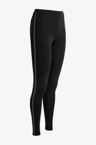 Khaki Side Stripe Full Length Leggings