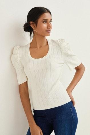 Ecru Pearl Embellished Short Sleeve Top
