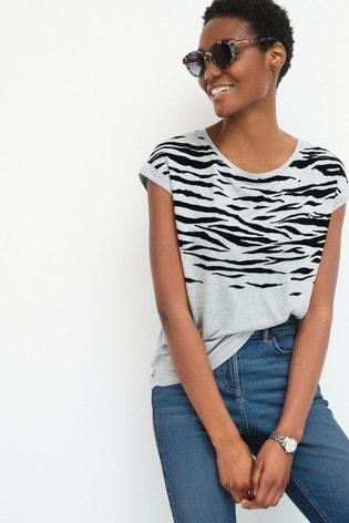 Grey Embroidered Animal Print Short Sleeve T-Shirt