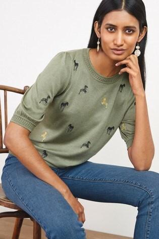 Khaki Embroidered Crew Neck T-Shirt