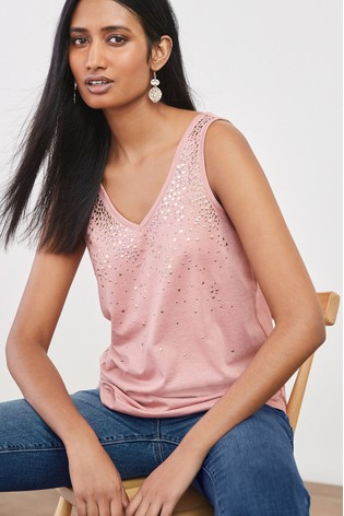 Pink Embellished V-Neck Vest