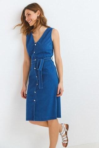 Dark Blue Jersey Denim Belted Button Front Dress