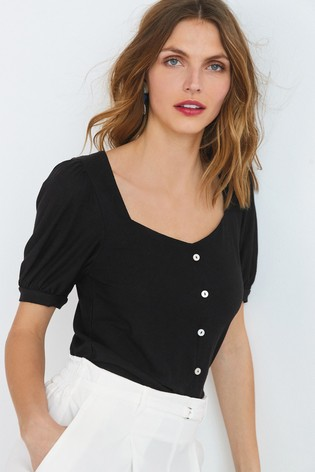 Black Button Front Short Sleeve Top